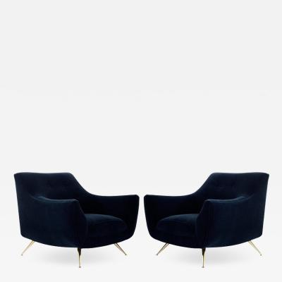 Henry P Glass Mid Century Modern Henry Glass Lounge Chairs in Navy Mohair