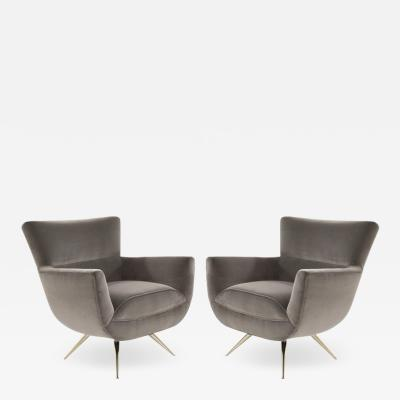 Henry P Glass Mid Century Modern Swivel Chairs by Henry Glass in Grey Velvet