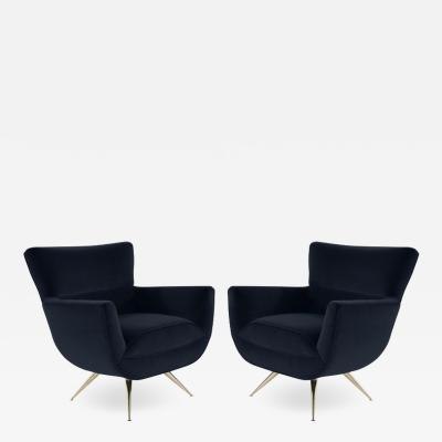 Henry P Glass Mid Century Modern Swivel Chairs by Henry Glass in Navy Velvet