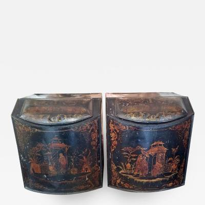 Henry Troemner Pair of 19th Century American Henry Troemner Philadephia Pa Chinoiserie Tea Bins