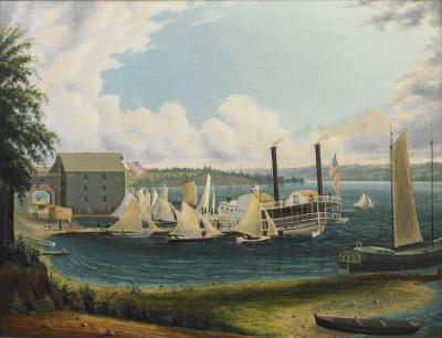 Henry W Rev Parker American Folk Painting of a Regatta on Lake Seneca New York