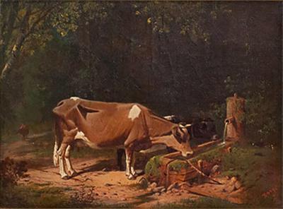 Henry Walcott Boss Cow at a Water Trough Henry Walcott Boss