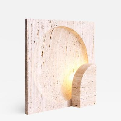 Henry Wilson Block Sculpted Travertine Table Lamp by Henry Wilson
