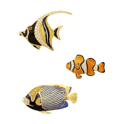 Henryk Kaston Contemporary Gold and Enamel Tropical Fish Brooches