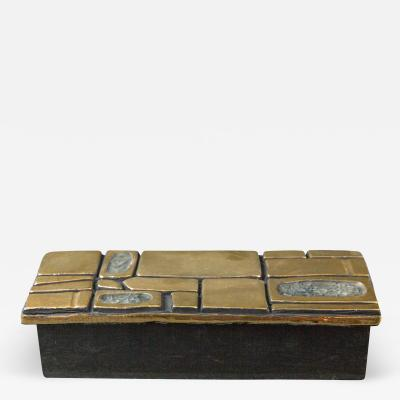 Herbert H Smithers Mith ESPELT 1960s Jewellery Chest with Gilded Ceramic Lid not Lembo