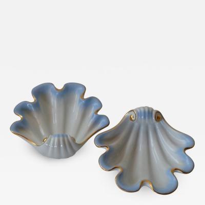 Herend Porcelain Herendi Porcel nmanufakt ra Pair of 1939 Hand Painted Shell Porcelain Vessels
