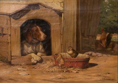 Herman Friedrich Funch Original Antique Barnyard Oil Painting With Guard Dog by Herman Funch