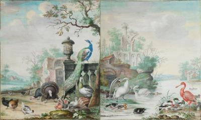Herman Henstenburgh Scenes with Exotic Birds in Grand Parks Pair