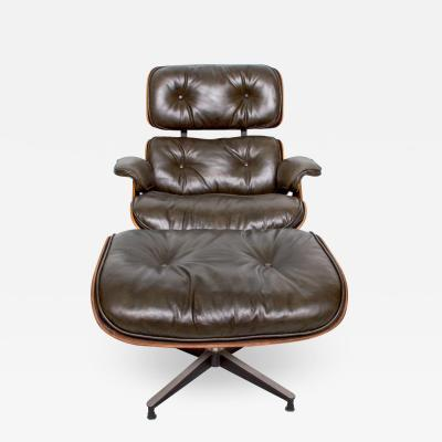 Herman Miller Eames for Herman Miller Dark Green Leather Lounge Chair and Ottoman