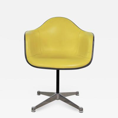 Herman Miller Eames pac yellow padded swivel armchair w gray fiberglass shell aluminum base