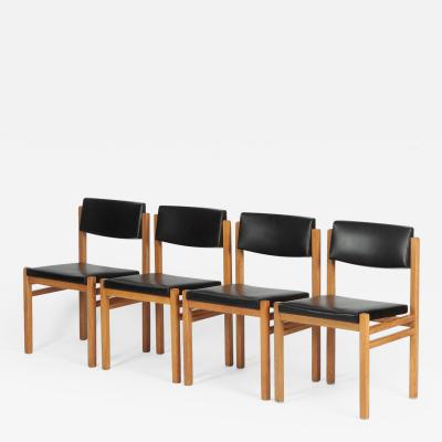 Hermann Baur Set with 4 Hermann Baur chairs oak and leather 60s