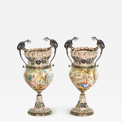 Hermann Bohm a Fine Pair of Viennese Silver Mounted Enamel Vases