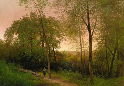 Hermann Herzog A Walk along a Path at Sunset