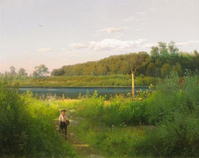 Hermann Herzog Delaware Trout Fishing or The Fisherman s Return