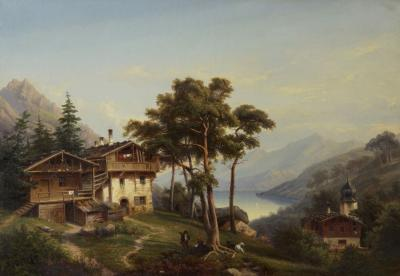 Hermann Seefisch Chalet by Lake Antique Oil Painting by Hermann Seefisch German c 1850