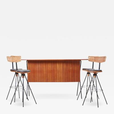 Herta Maria Witzemann House Bar and Four Bar Stools by Prof Herta Maria Witzemann for Erwin Behr