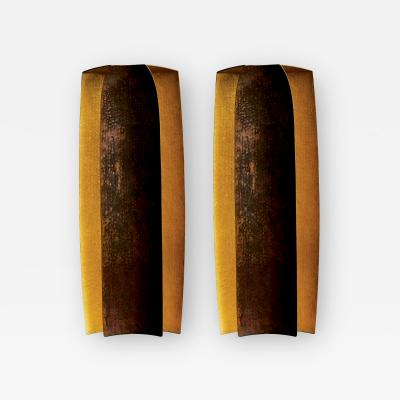 Herv Wahlen Two Pairs of Unique Herve Wahlen Hammered Copper and Gold Leaf Wall Sconces