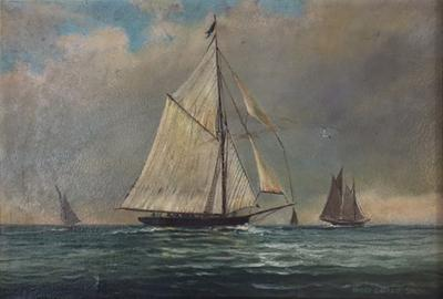 Hervey Garrett Smith 1900s SAILBOATS PAINTING BY HERVEY GARRETT SMITH