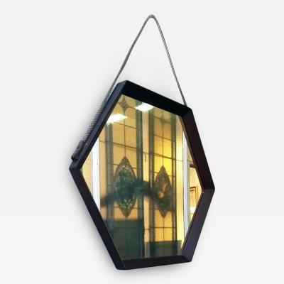 Hexagonal teak mirror 1960s