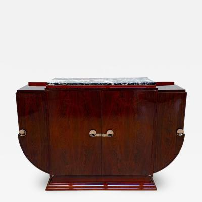 High Art Deco Sideboard Buffet Rosewood Nickel Marble France circa 1930