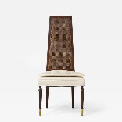 High Back Desk Chair with Double sided Rattan Back and Ivory Faux Leather Seat