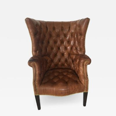 High Back Tufted Leather Chair