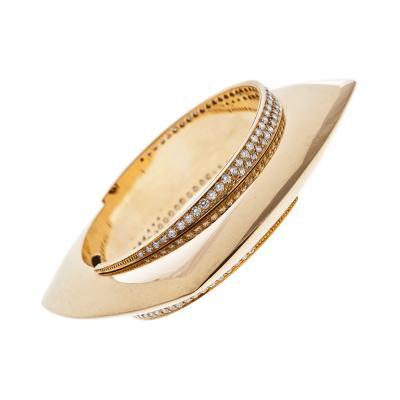 High Design Diamond Yellow Gold Large Stylized Bangle