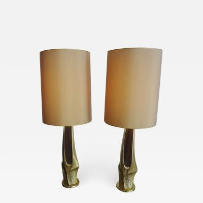High pair of brass lamps USA 1975
