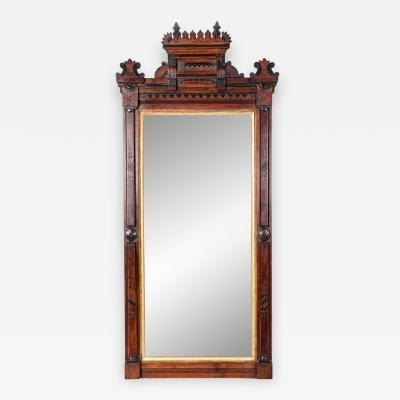 Highly Carved Mahogany Wood Gold Leaf Framed Hanging Mirror