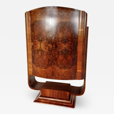 Hille Art deco u base cocktail bar in figured walnut c 1930
