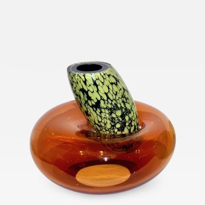 Hilton McConnico Hilton McConnico by Formia 1990s Italian Orange Murano Art Glass Vase
