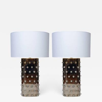Hilton McConnico Pair of Silver Color Drimmer Ceramic Lamps with Plastic Marbles