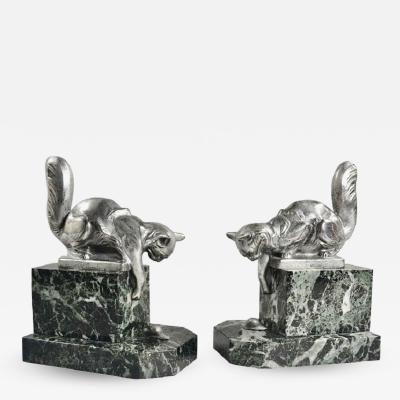 Hippolyte Fran ois Moreau Art Deco Bookends Sculpture of Cats by H Moreau