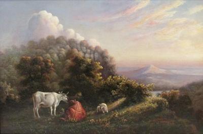 Hiram Dwight Torrey Early Pennsylvania Bucolic Luminist Landscape Painting Pottsville PA