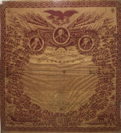 Historical Printed on Cotton Handkerchief of Declaration of Independence 1821
