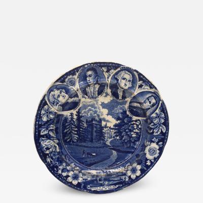 Historical Staffordshire Blue Medallion Plate Circa 1825