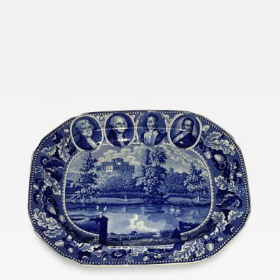 Historical Staffordshire Blue Platter Medallion Series Circa 1825