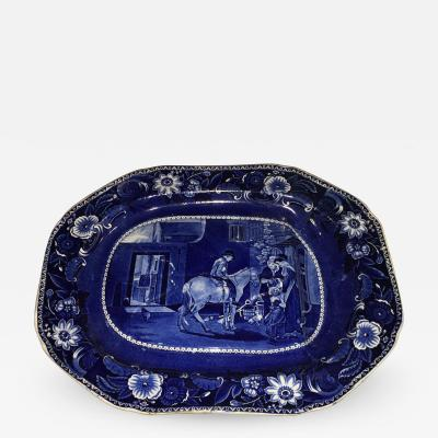 Historical Staffordshire Blue Wilkie Series Well and Tree Platter Errand Boy
