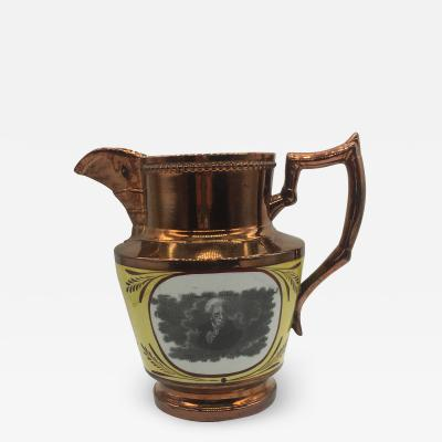 Historical Staffordshire Copper Luster Andrew Jackson Hero New Orleans Pitcher