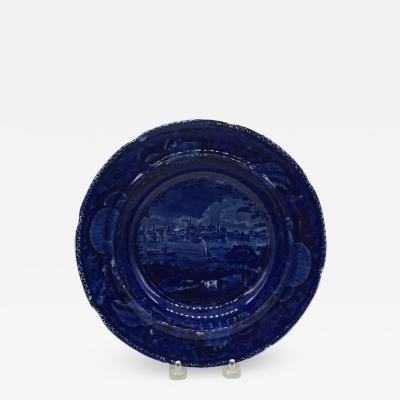 Historical Staffordshire Dark Blue Soup Plate City of Albany New York 1825