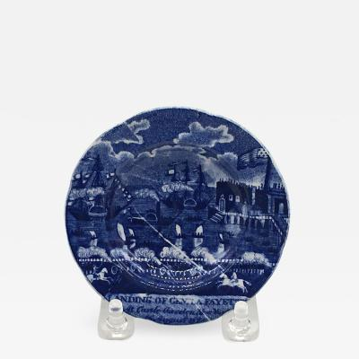 Historical Staffordshire Landing of Lafayette Cup Plate Circa 1825