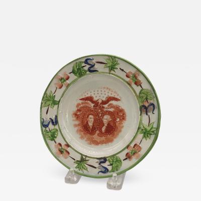 Historical Staffordshire Washington and Lafayette Plate Circa 1825