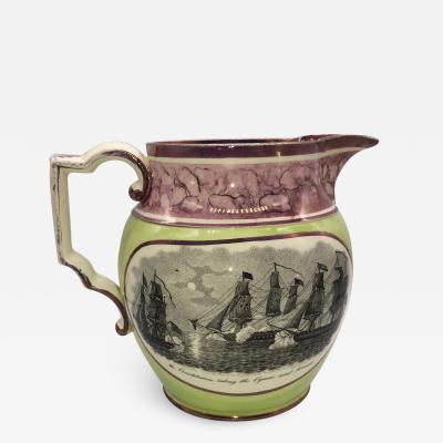 Historical Staffordshire war of 1812 Pitcher Constitution Cyan Ca 1815