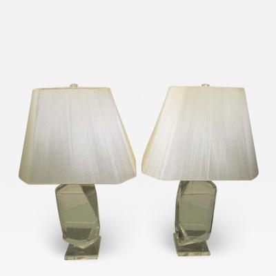 Hivo G Van Teal Stunning Pair of Mid Century Modern Faceted Lucite Lamps Signed by Van Teal