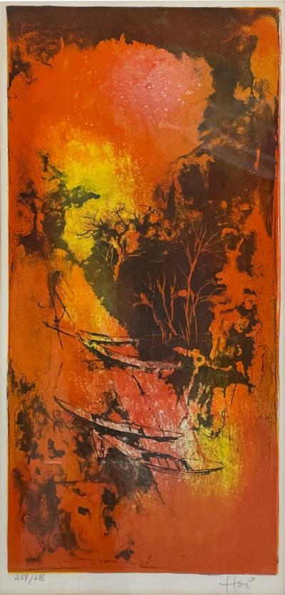 Hoi Lebadang Abstract Art Boats Along River Lithograph 267 275 Hand Signed 1970s