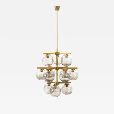 Holger Johansson Chandelier with 12 Smoked Glass Shades by Holger Johansson Sweden 1960s