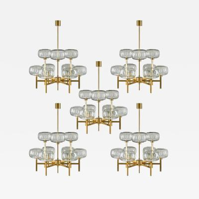 Holger Johansson Five Swedish Chandeliers in Brass and Glass by Holger Johansson