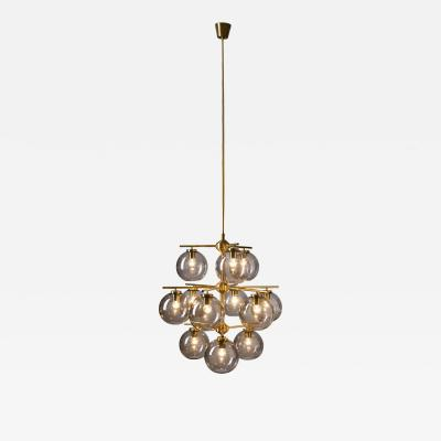 Holger Johansson Holger Johansson Chandelier with 12 Smoked Glass Shades for Westal Sweden 1960s