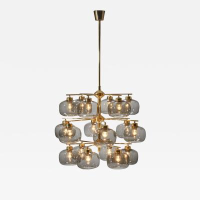 Holger Johansson Holger Johansson Chandelier with 18 Smoked Glass Shades for Westal Sweden 1952