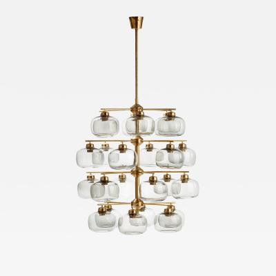 Holger Johansson Holger Johansson Chandelier with 24 Smoked Glass Shades Sweden 1952